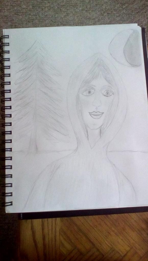 Hooded woman sketch